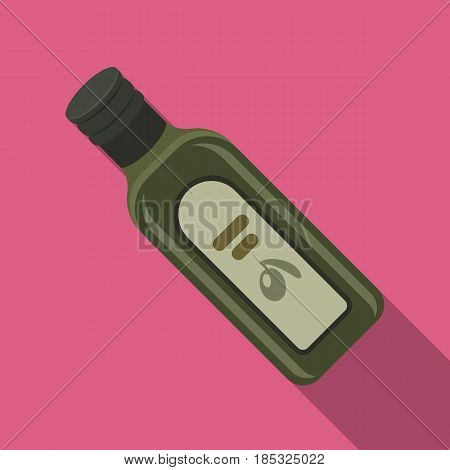 A bottle of olive oil.Olives single icon in flat style vector symbol stock illustration .