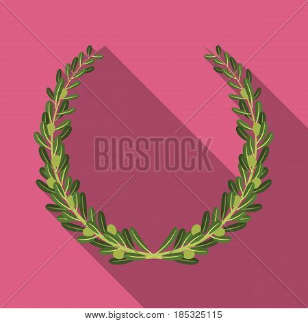 Wreath from olive branches.Olives single icon in flat style vector symbol stock illustration .