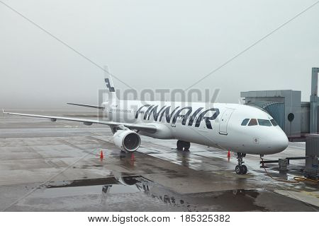 HELSINKI, FINLAND - APRIL 1, 2017: Finnair Airbus A321 airliner at Helsinki Vantaa airport. Finnair is the Finnish flag carrier airline.