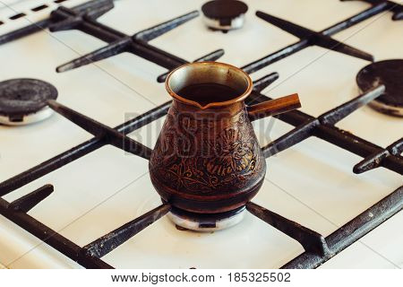 Turka With Coffee On The Gas Stove