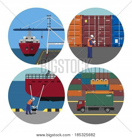 Port services. Loading containers on ships. Workers in harbor. Vector illustration