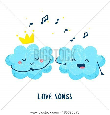 Cute cloud sings a love song for the princess. Flat style. Vector illustration.