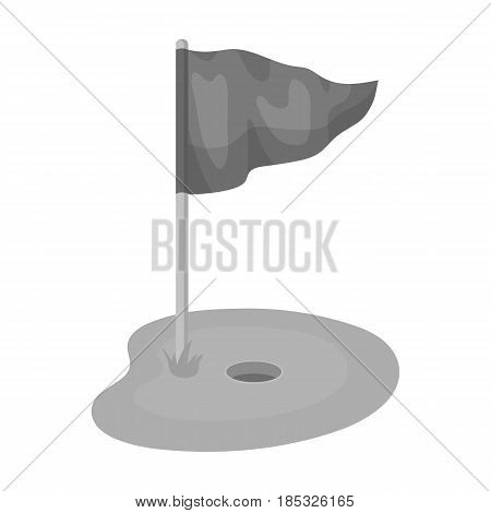 Flag and golf course.Golf club single icon in monochrome style vector symbol stock illustration .