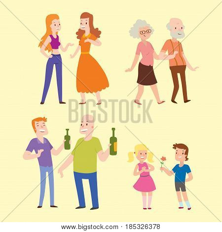People happy couple cartoon and relationship characters lifestyle vector illustration. Relaxed friends group adult together romantic casual vacation retirement human.