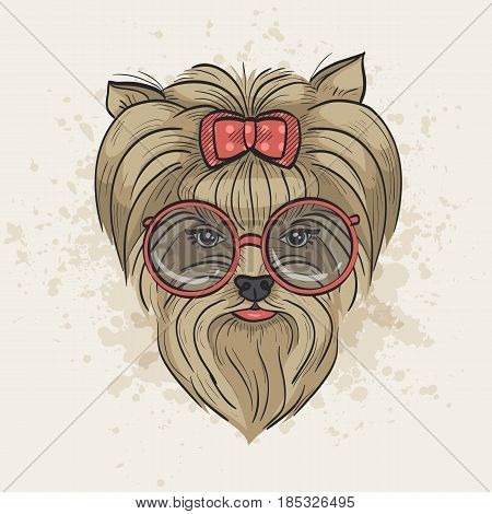 Vector color sketch of elegant dog womans face with bow and circle sunglasses. Fashion look.