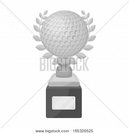 Cup for winning a golf tournament.Golf club single icon in monochrome style vector symbol stock illustration .