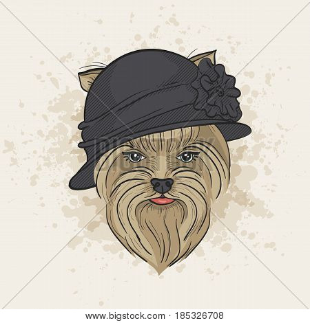 Vector color sketch of elegant dog womans face with bowler hat. Fashion look.