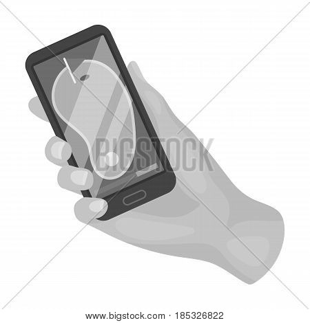 Navigator in the golf course phone.Golf club single icon in monochrome style vector symbol stock illustration .