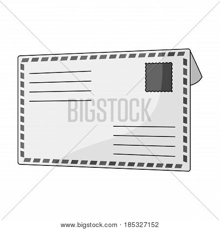 Postal envelope.Mail and postman single icon in monochrome style vector symbol stock illustration .