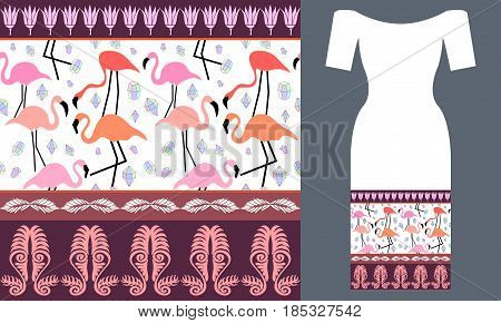 Seamless vector pattern with ethnic motifs. Summer textile collection.