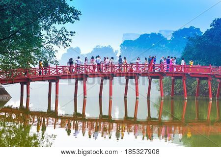 Hanoi, Vietnam - December 01: Huc Bridge Over The Hoan Kiem Lake On December 01, 2012 In Hanoi, Viet