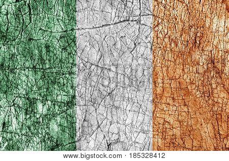 Grudge stone painted Ireland flag close up