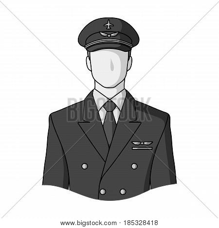 Pilot.Professions single icon in monochrome style vector symbol stock illustration .