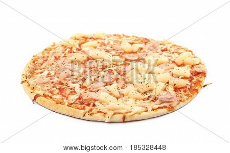 Baked frozen pizza with cheese, ham and pineapples isolated over the white background