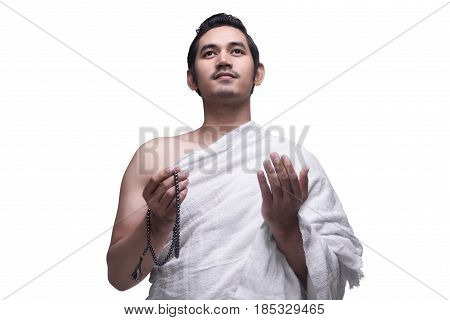 Religious Asian Muslim Man In Ihram Dress Ready For Hajj