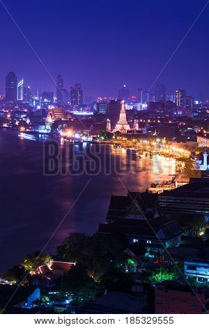 Wat Arun Temple at night in Bangkok Thailand