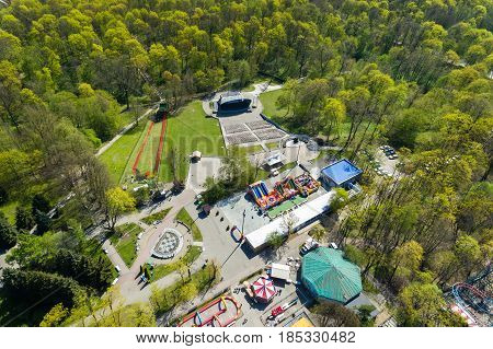 Aerial view of the summerstage in the central park of Kaliningrad