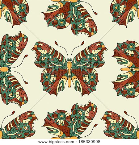 Seamless vector hand drawn pattern with fantasy butterflies in modern style. Beautiful botany illustration.
