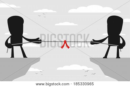 Abstract Businessmen Tug of war on a cliff. Vector illustration Businessmen embroiled in a war of attrition on the top of the cliffs.