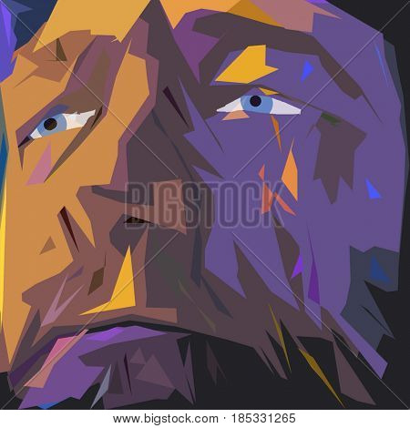 Abstract painting. Old man's face in purple colors.  3D rendering