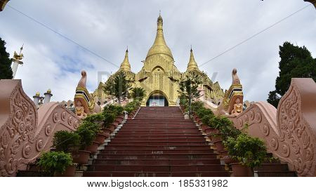 Golden pagoda famous places land mark in Mong La Myanmar's Sin City shan state myanmar. Nearly china ishuangbanna SibsongbannaSipsong Panna