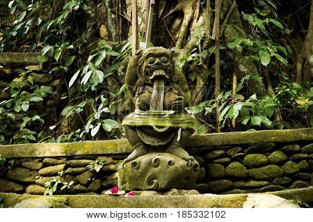 an ancient stone deity with a beard curly hair round eyes large teeth and fangs located in the tropical forest of Bali.