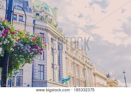 City View Of London's Pretty Architecture Close To Trafalgar Square With Flower Details