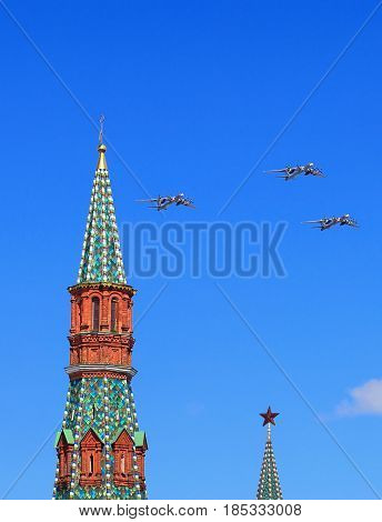 MOSCOW - MAI 4: Three russian strategic bombers fly over Red Square in training for the Victory Parade -  on Mai 4, 2017 in Moscow