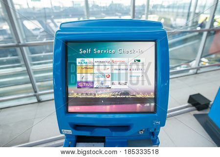BANGKOK, THAILAND - MAR 01: check-in self service terminals on March 01, 2015. Suvarnabhumi Airport is one of two international airports serving Bangkok.