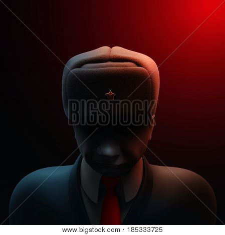 May 6, 2017: Russia blamed in hacking attack ahead of French presidential election. Russian spy with darkened face 3D illustration
