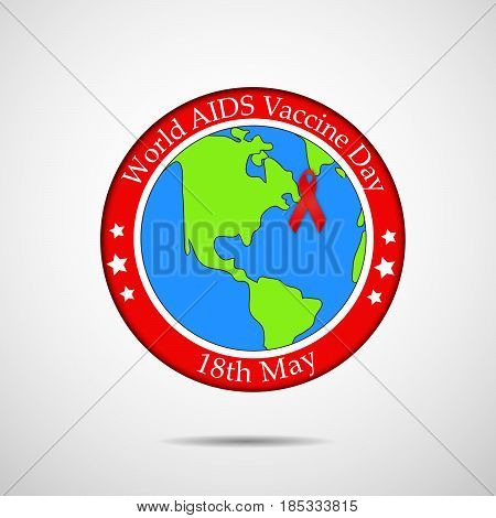 illustration of ribbon on earth background with world aids vaccine day 18th may text on stamp