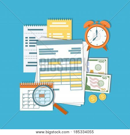 Payment of tax, debt, credit. Financial calendar, documents, forms, money, cash, gold coins, calculator, magnifying glass, alarm clock, invoices, bills. Payday icon. Vector illustration