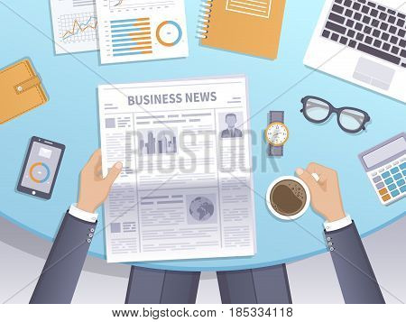 Businessman reading a newspaper in the workplace and drinks coffee. Latest business news at breakfast. Journal in hands, desk, documents, phone, watches, laptop, glasses, calculator, wallet. Vector