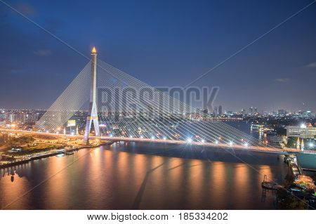 Thailand bangkok night cable bridge ( Rama VIII Bridge ) The Rama VIII Bridge is a cable-stayed bridge crossing the Chao Phraya River in Bangkok Thailand. It was conceived to alleviate traffic congestion on the nearby Phra Pinklao Bridge
