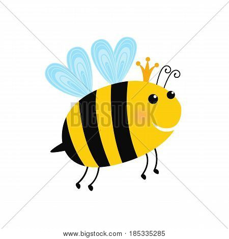 A cartoon illustration of a queen bee with a crown. Isolated on white background. Vector illustration for children