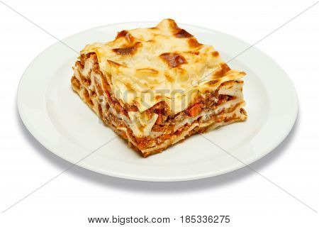 Portion of tasty lasagn, isolated on white background
