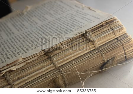 Very Old Book close up - Danish Bible