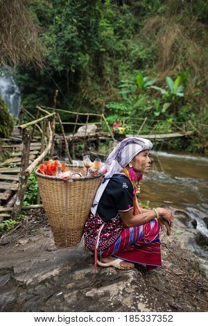 Chiang Mai, Thailand - Jul 25 : Karen Hill Tribe In Forest With Traditional Clothes On July 25, 2015