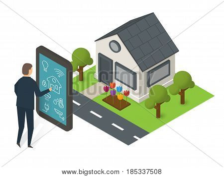 Man touching mobile smartphone with smart home application on the screen and isometric building. Smart house technology vector illustration