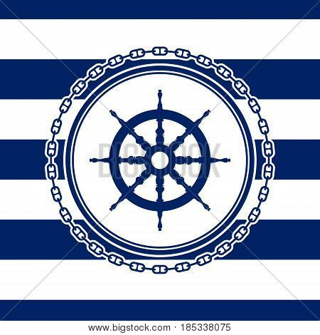 Round Marine Emblem Ship's Wheel and Chain on a Striped Background Vector Illustration