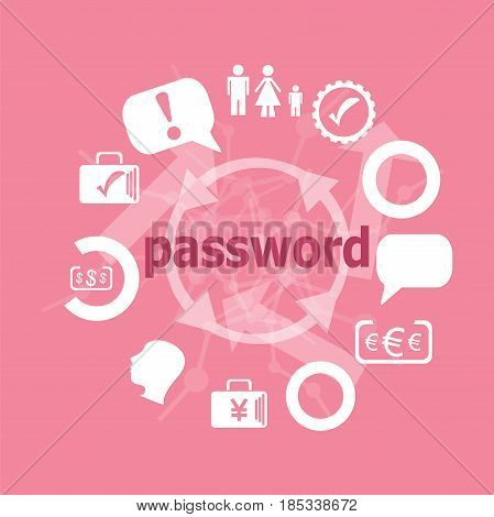 Text Password. Security Concept . Icons Set. Flat Pictogram. Sign And Symbols For Business, Finance,