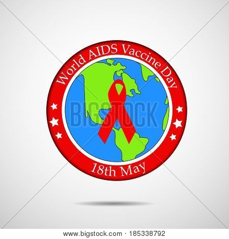 illustration of ribbon on earth background with world aids vaccine day 18th may text
