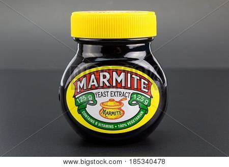 QUEENSTOWN SOUTH AFRICA - 27 April 2017: Marmite yeast extract spread for bread or toast