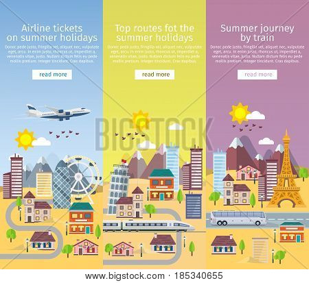 Summer travel banners in flat style. Decorative vertical templates set in flat style. Traveling in time of vacation by plane bus and train. Travel to Britain Italy and France. Vector illustration