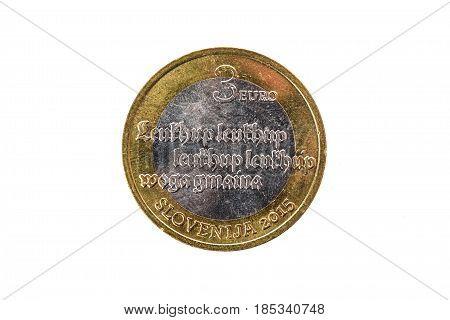 Used Commemorative Anniversary Bimetal 3 Euro Slovenia Coin 2015.