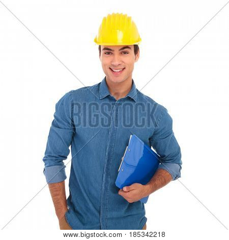 happy construction engineering student holding clipboard is smiling on white background