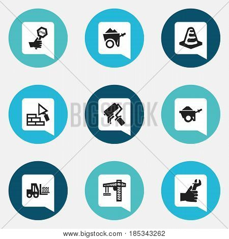 Set Of 9 Editable Structure Icons. Includes Symbols Such As Handcart , Scrub, Truck. Can Be Used For Web, Mobile, UI And Infographic Design.