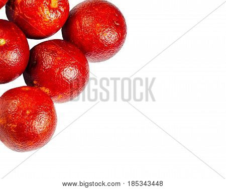 Sicilian orange ruby red oranges on a white background