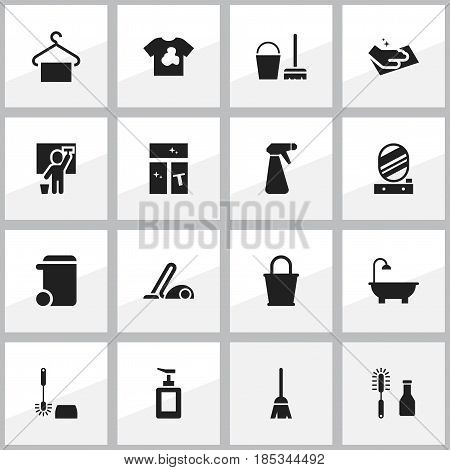 Set Of 16 Editable Dry-Cleaning Icons. Includes Symbols Such As Wc Cleaning, Wall Mirror, Bathroom And More. Can Be Used For Web, Mobile, UI And Infographic Design.