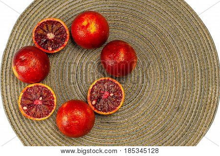 Sicilian orange ruby red oranges  dark background